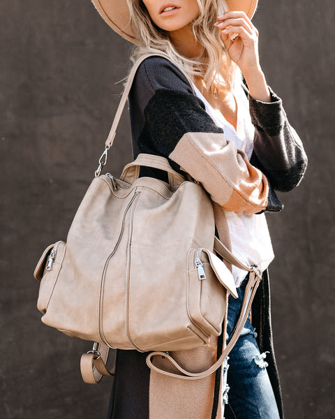 Dallas Vegan Leather Backpack - Natural