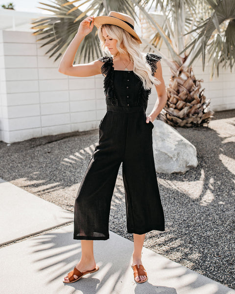 9e7b6b8b0b1 Dancing In The Dark Eyelet Pocketed Jumpsuit