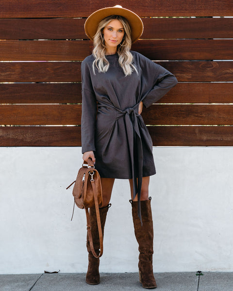 Dancing In The Rain Cotton Sweatshirt Tie Dress - FINAL SALE