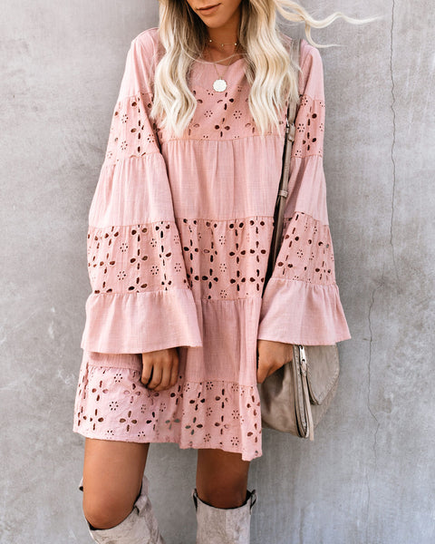 Dancing Leaves Cotton Pocketed Eyelet Dress - Blush