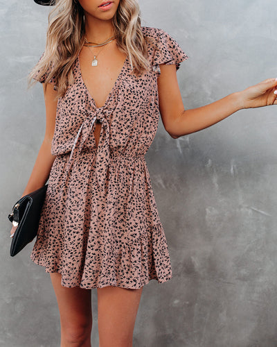Dancing On My Own Printed Tie Front Romper