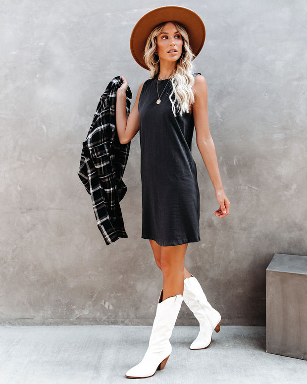 Dara Cotton Tank Dress - Charcoal