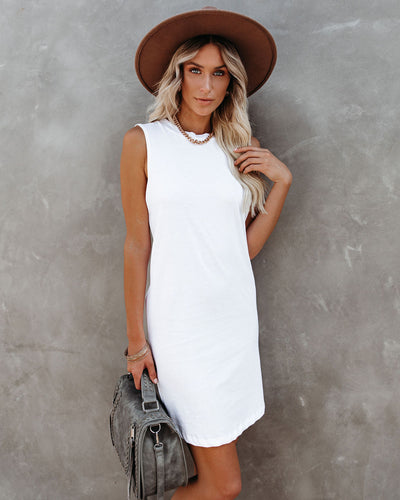 Dara Cotton Tank Dress - White