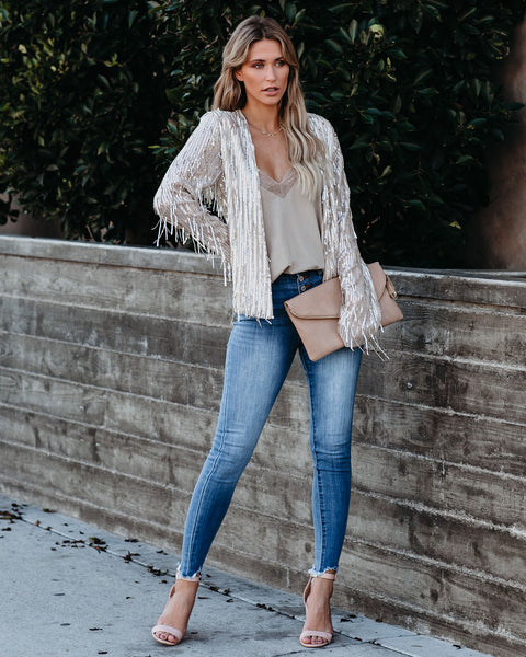 Dare To Be Bold Sequin Fringe Jacket