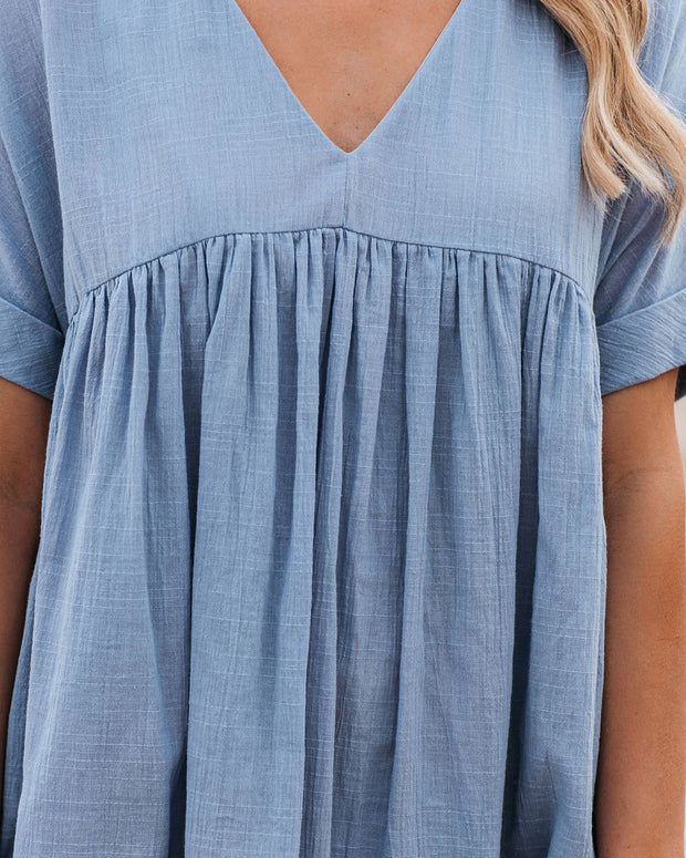 Darling Cotton Pocketed Babydoll Tunic - Misty Blue