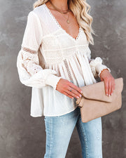 Darlin' Swiss Dot Crochet Babydoll Blouse