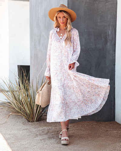Dashing Daisies Chiffon Boho Maxi Dress