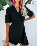 Da Vinci Ruffle Wrap Dress - Black