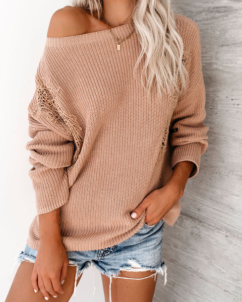 Daydreamer Cotton Crochet Sweater - Mauve