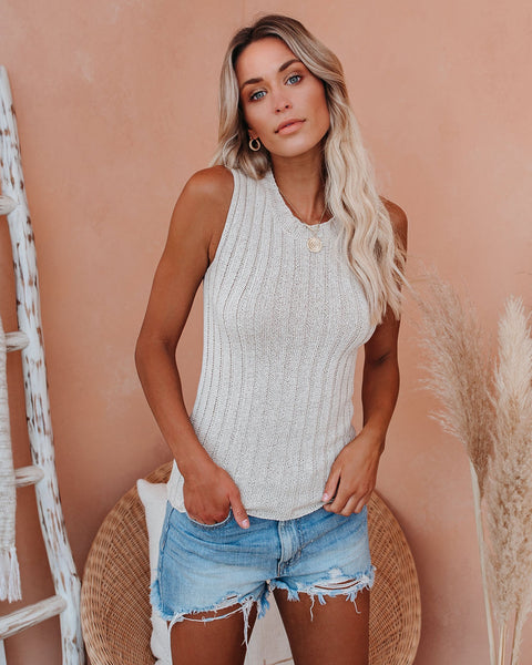 Daylight Savings Sleeveless Ribbed Knit Top