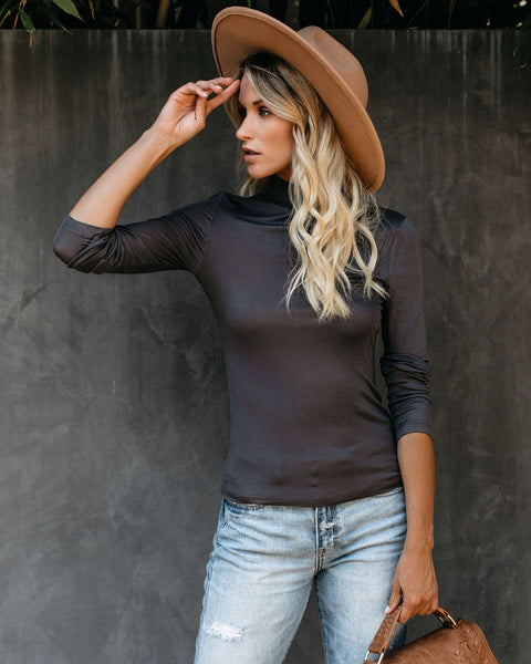Day To Day Turtleneck Knit Top - Charcoal