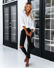 Dazzle Backless Satin Button Down Blouse - Off White view 1