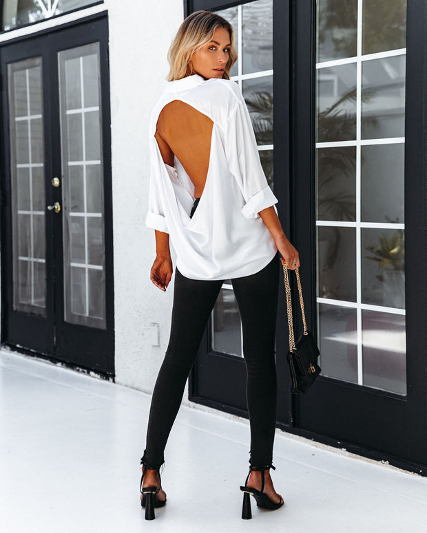 Dazzle Backless Satin Button Down Blouse - Off White view 5