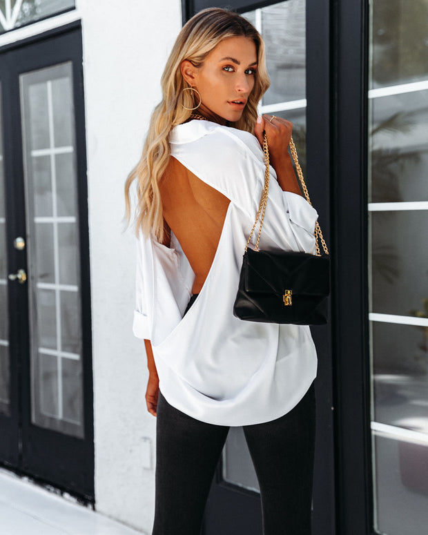 Dazzle Backless Satin Button Down Blouse - Off White view 2