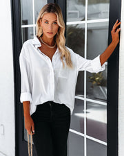 Dazzle Backless Satin Button Down Blouse - Off White view 7