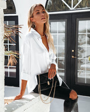 Dazzle Backless Satin Button Down Blouse - Off White view 6