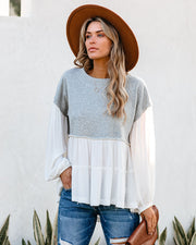 Dear John Contrast Tiered French Terry Knit Top