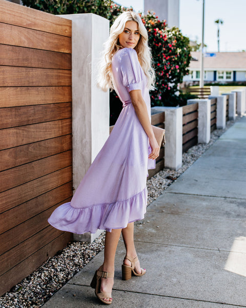 Dearly Beloved Satin High Low Ruffle Wrap Dress - Lilac