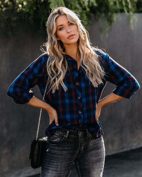 Dear Winter Cotton Plaid Button Down Top - FINAL SALE