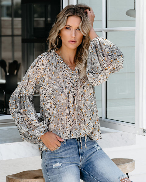 Deciduous Lantern Sleeve Metallic Detailed Blouse
