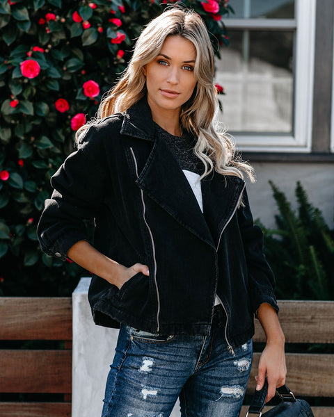 Decked Out Pocketed Denim Moto Jacket - FINAL SALE