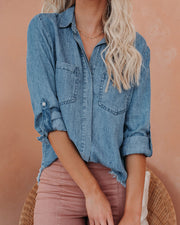 Declan Tencel + Linen Frayed Button Down Top