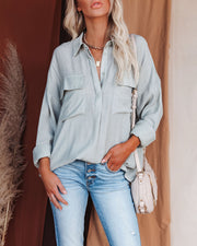 Dedicated Button Down Pocket Top - Sage