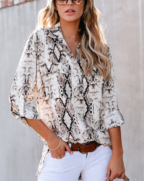 Defiance Snake Print Button Down Blouse