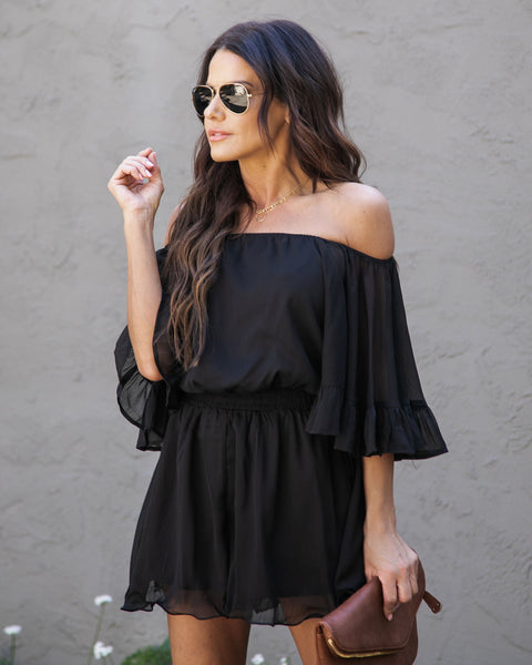 Definitely Demure Off The Shoulder Chiffon Romper - Black