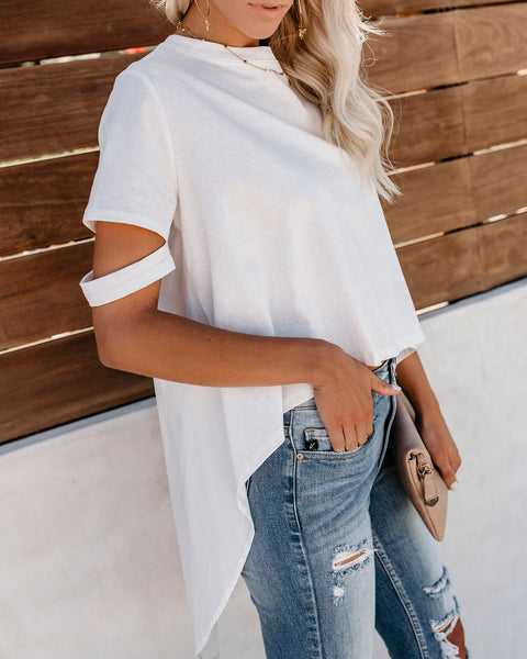 Defying Gravity High Low Cotton Top - Off White