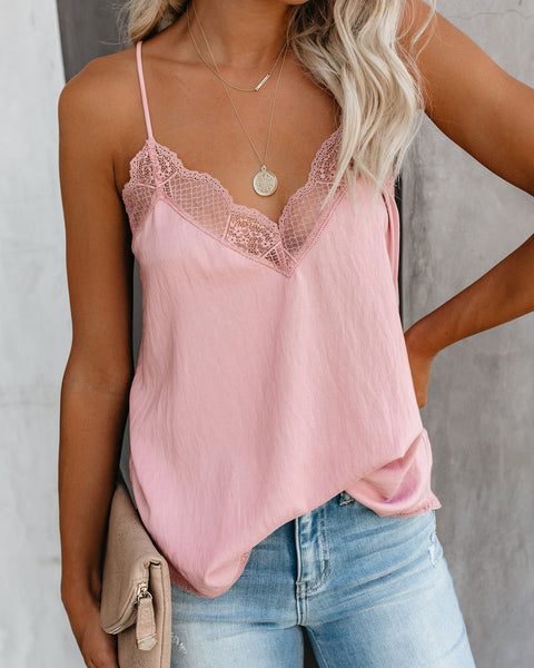 Delicate Balance Lace Cami Tank - Light Orchid