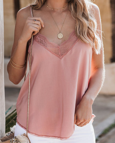Delicate Balance Lace Cami Tank - Rose - FINAL SALE