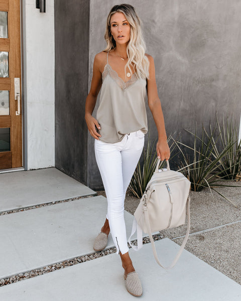 Delicate Balance Lace Cami Tank - Silver Sage