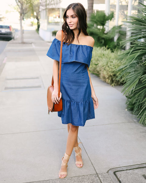 Sweet Melody Chambray Ruffle Dress