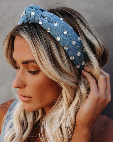 Denim Crystal Knot Headband