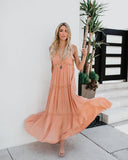 Deserted Lace Maxi Dress - Salmon - FINAL SALE