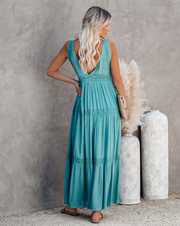 Deserted Lace Maxi Dress - Teal