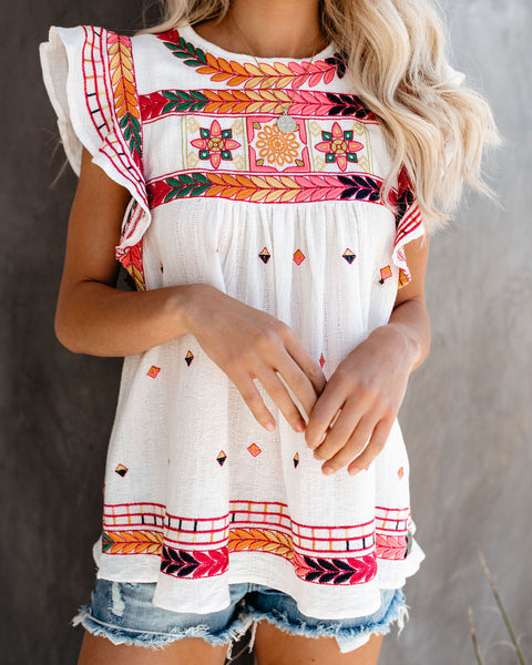 Desert Folk Embroidered Top - Off White