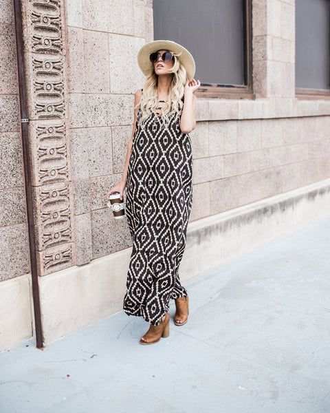 Desert Moon Ikat Maxi Dress
