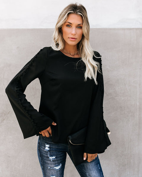 Desire Bell Sleeve Blouse - Black
