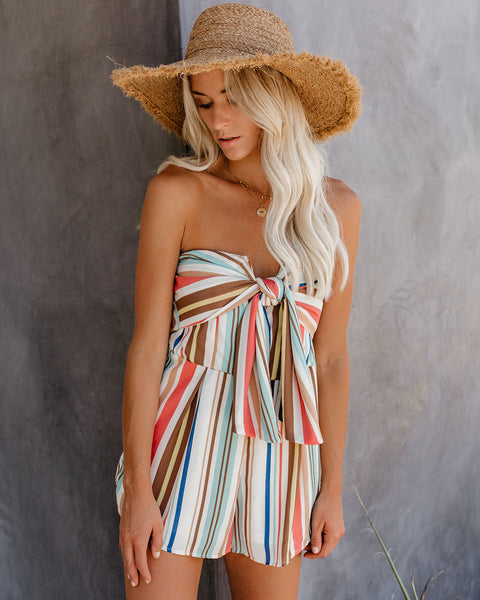 Dessert First Strapless Striped Tie Front Romper