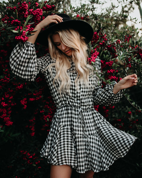 Devereaux Gingham Adjustable Balloon Sleeve Dress - FINAL SALE