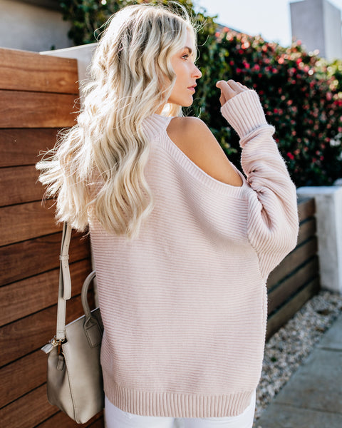 Devout Cold Shoulder Sweater - Twig - FINAL SALE