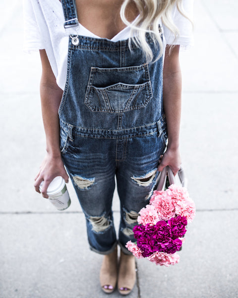 Dezie Distressed Overalls - Dark Wash