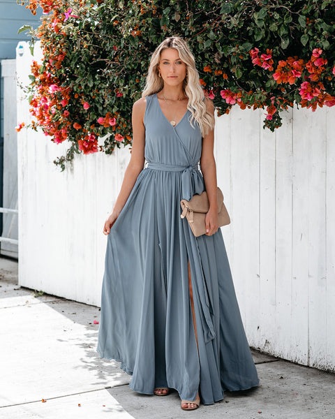 Diana Sleeveless Maxi Dress - Blue Grey