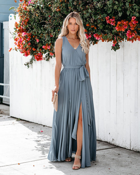 Diana Sleeveless Maxi Dress - Blue Grey - FINAL SALE