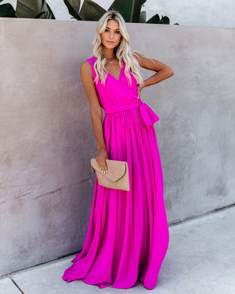 Diana Sleeveless Maxi Dress - Fuchsia - FINAL SALE
