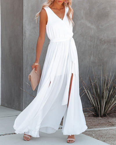 Diana Sleeveless Maxi Dress - Off White