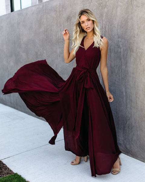 Diana Sleeveless Maxi Dress - Wine