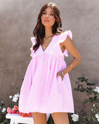 Diaz Cotton Pocketed Gingham Babydoll Tunic